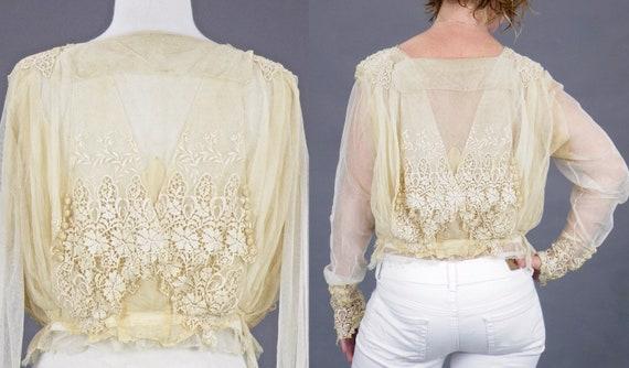 1900s Edwardian Embroidered Net Lace Blouse, Crea… - image 6