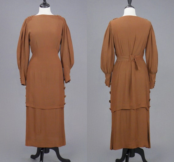 Vintage 1930s Sienna Brown Metallic Crepe Tiered Bishop Sleeve Dress with Buttons and Ruching, S/M - M