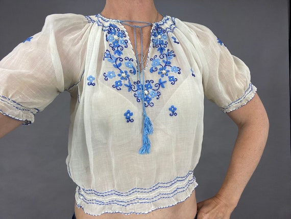 Vintage 1930s Hand Embroidered Cropped Hungarian Peasant Blouse, Small