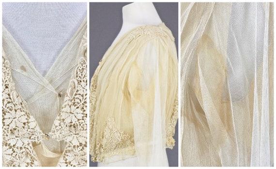 1900s Edwardian Embroidered Net Lace Blouse, Crea… - image 10