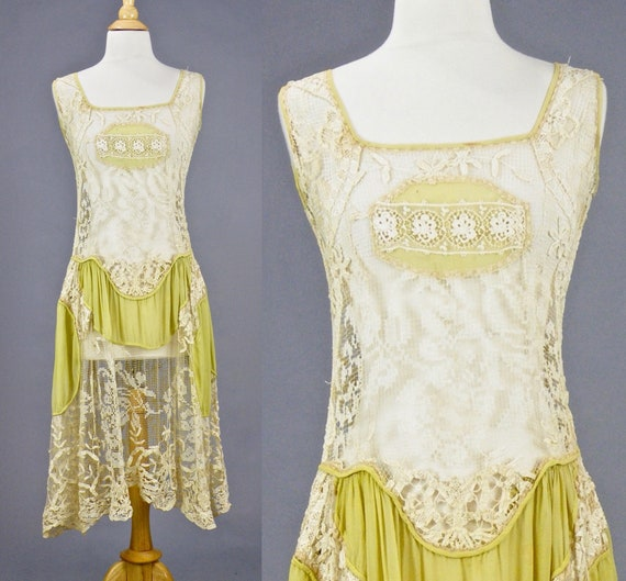Vintage 1920s Chartreuse Silk Mixed Antique Lace 1920s Flapper Dress, XS