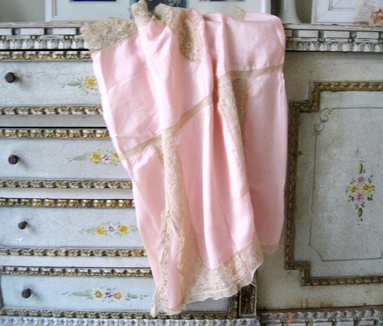 1920/'s Pink Romper Nightie with Crochet Trim