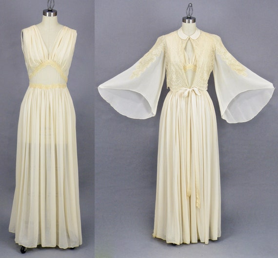 Vintage 1930s Ivory Silk Chiffon and Net Lace Peignoir Nightgown Set with Bell Sleeves, 30s Bridal Lingerie Trousseau
