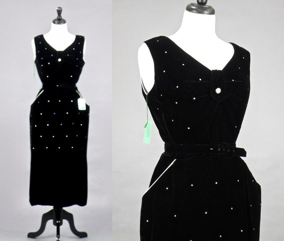 Vintage 1950s Dress, Deadstock 50s Black Velvet Cocktail Dress with Hip Pockets, Rhinestones and Original Tags, Medium
