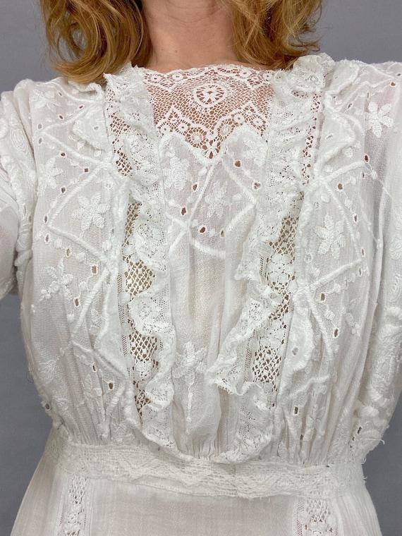 Antique Edwardian White Dress, 1910s Lingerie Dre… - image 8
