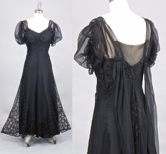 Vintage 1930s 40s Black Net and Lace Evening Dress