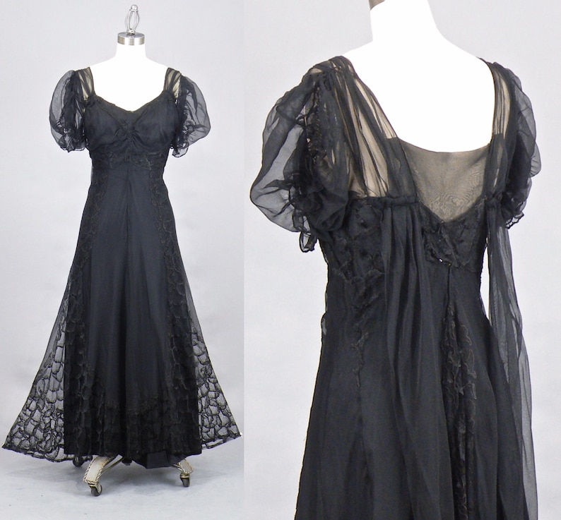 Vintage 1930s 40s Black Net and Lace Evening Dress Old image 0