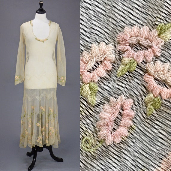 Vintage 1930s Floral Embroidered Net Dress, 30s Sheer Gown, 37 Bust S - S/M