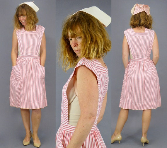 Vintage 1940s Candy Striper Pinafore Jumper Dress & Nurse Cap, WWII Era Nurse Uniform
