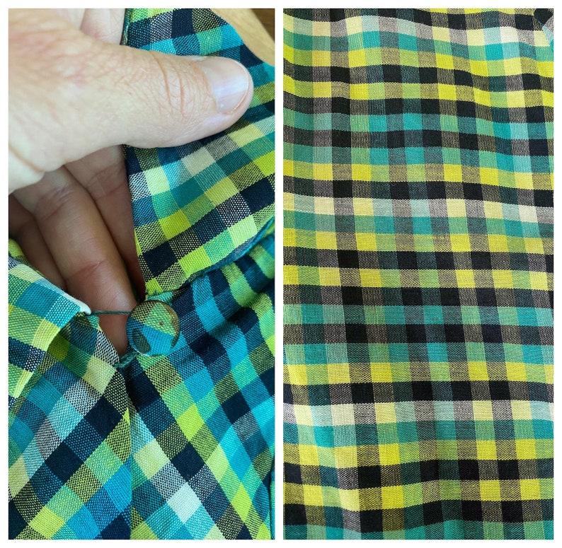 Vintage 1940s Dress 40s Green Cotton Plaid Dress M SM