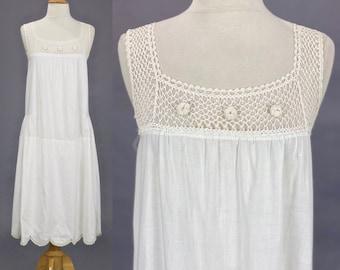 Antique Edwardian 1910s 1920s White Cotton Crochet Chemise Dress, 20s Slip Dress, Small