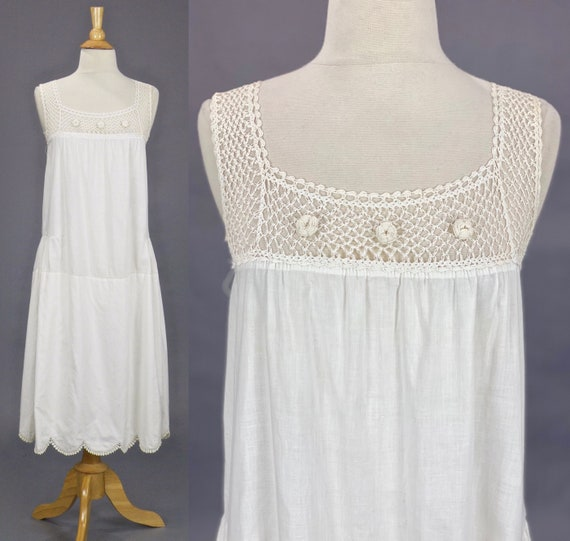 Antique 1910s 1920s White Cotton Crochet Chemise Dress, Edwardian Slip Dress, Small