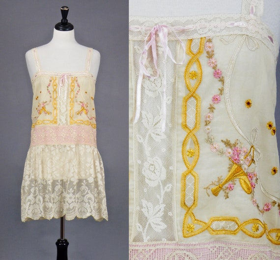 Vintage 1920s Embroidered Lace Dress, 20s Dress, Floral Urn Embroidered Silk and Lace Dress, S / M