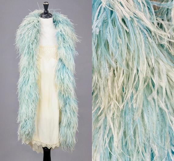 "Antique 1920s Art Deco Blue Ostrich Feather Boa Scarf, 79"" Length"