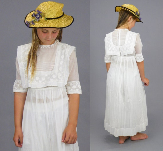 Edwardian Embroidered White Cotton Girls Dress, An