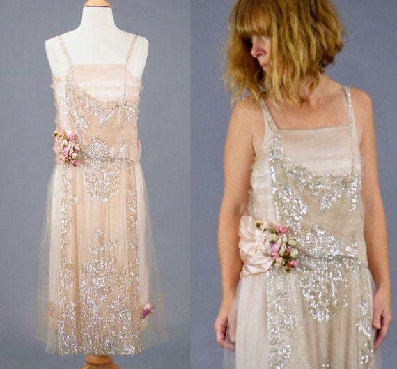 Vintage 1920s Beaded Sequined Pink Silk Tulle Dress, The Rhea Shop, XS