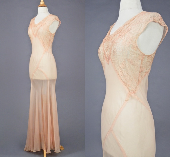 Vintage 1930s Blush Pink Bias Cut 30s Dress and W… - image 4