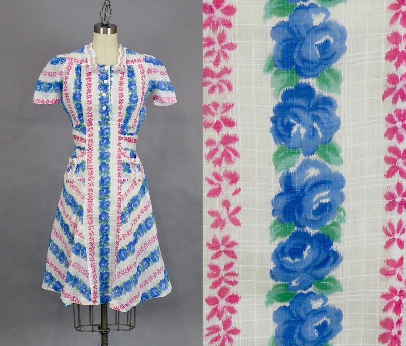 Vintage 1940 Floral Roses Dress 40s Dress 1940s Cotton image 0