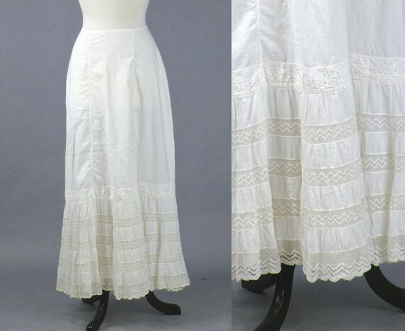 Antique Edwardian Petticoat, 1910s White Cotton and Lace Skirt Slip, Downton Abbey