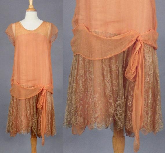 Vintage 1920s Coral Silk Lace Drop Waist Dress, S - M