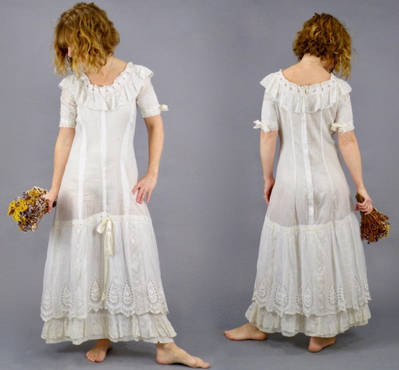 Antique 1900s Embroidered White Cotton Eyelet Lace Edwardian Princess Petticoat Lingerie Slip Dress