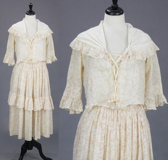 Antique 1910s Cottage Dress, Floral Cotton Voile Tiered Skirt and Corset Tie Blouse, Medium