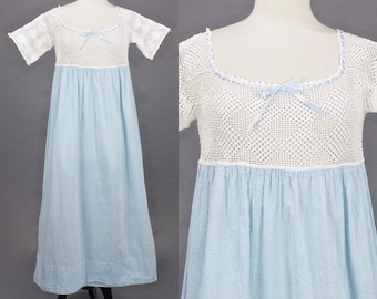 1910s Blue Cotton Crochet Nightgown with Ribbon, Antique Edwardian Nightgown, Vintage Nightdress, Medium