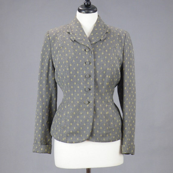 1940s Wool Blazer Jacket, Vintage 40s Tailored Jac