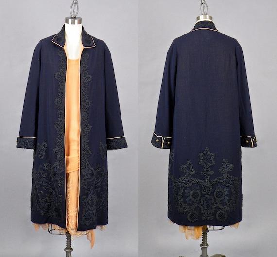 Vintage 1920s Soutache Jacket, 20s Coat, Dark Blue Roaring 20s Jacket with Soutache Embroidery
