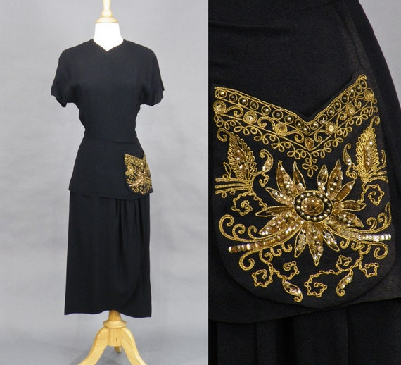 Vintage 1940s Dress, 40s Gold Embellished Black Rayon Peplum Dress, Hourglass Dress Film Noir XS C Cup Size