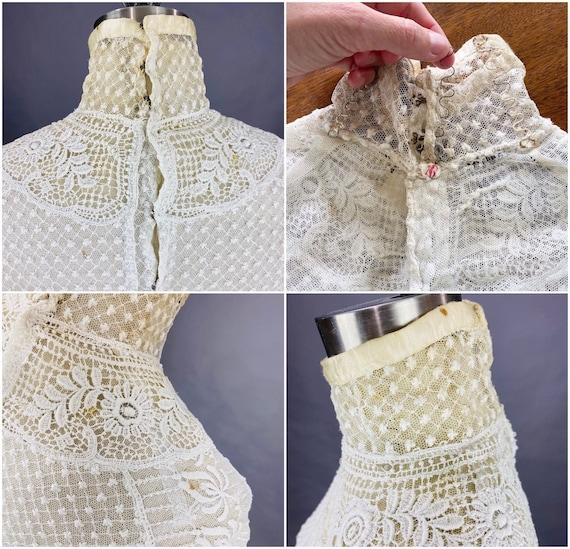 Edwardian Mixed Lace Blouse, 1900s Embroidered Ne… - image 9