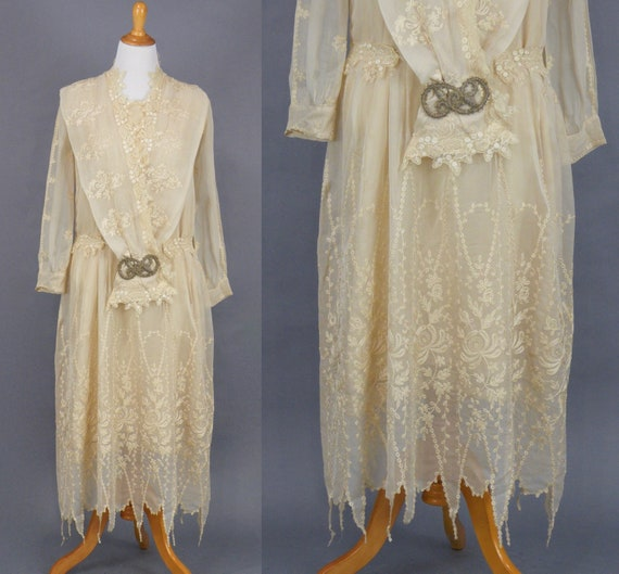 Vintage 1920's Embroidered Silk and Lace Wedding Dress with Scalloped Handkerchief Hem & Beaded Medallion, Large