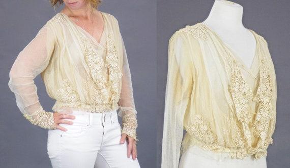 1900s Edwardian Embroidered Net Lace Blouse, Crea… - image 5