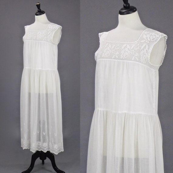 Vintage 1910s 20s Dress, Antique Embroidered Whit… - image 3