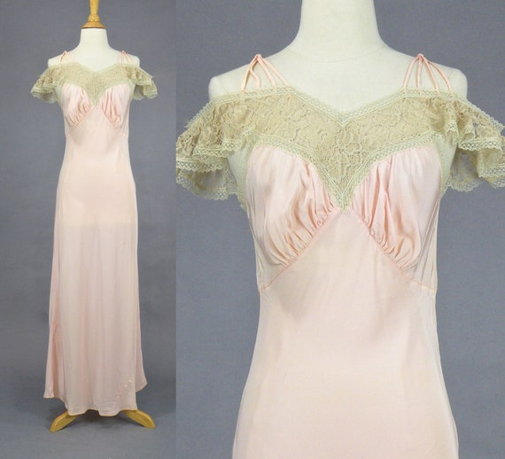 Vintage 1930s Pink Silk & Lace Bias Cut Nightgown, 30s Lingerie Slip, Romantic Lace Cold Shoulder Cap Sleeve, Boudoir Nightgown