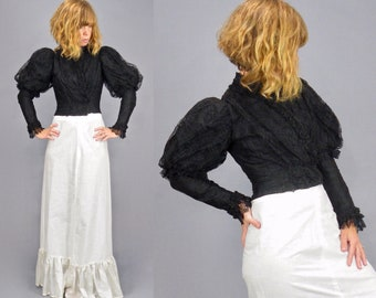 1890s Victorian Puff Sleeve Bodice, Antique Black Lace Leg of Mutton Sleeve Blouse, XS