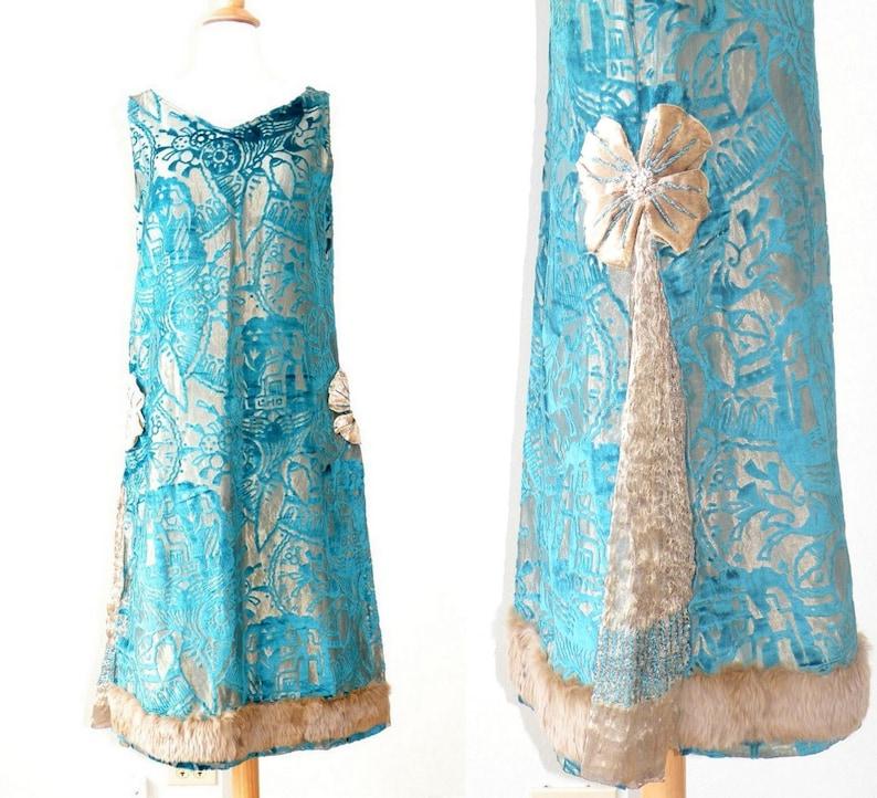a9d0c04f961 1920s Metallic Lamé Burnout Velvet Dress 20s Dress Flapper | Etsy