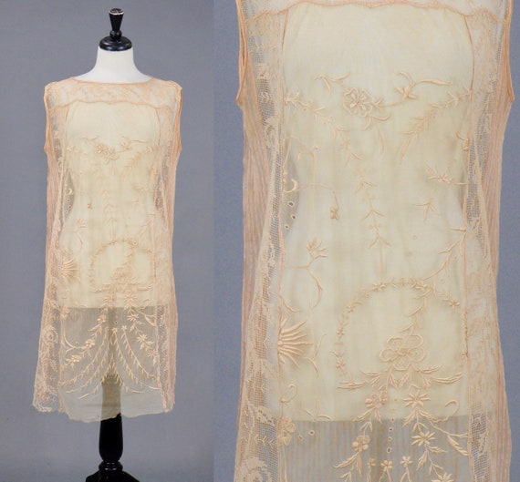 Vintage 1920s Blush Embroidered Net and Filet Lace Dress, S - M