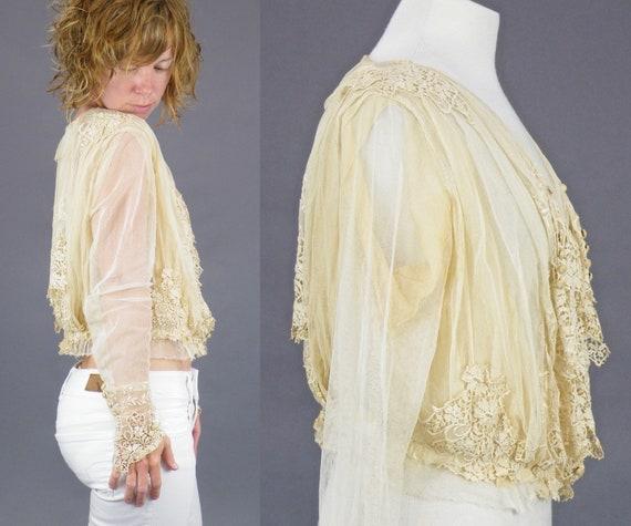 1900s Edwardian Embroidered Net Lace Blouse, Crea… - image 4