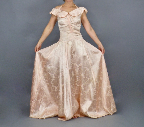 Vintage 1930s Evening Dress, 30s Gown, Pink Floral Satin Evening Gown