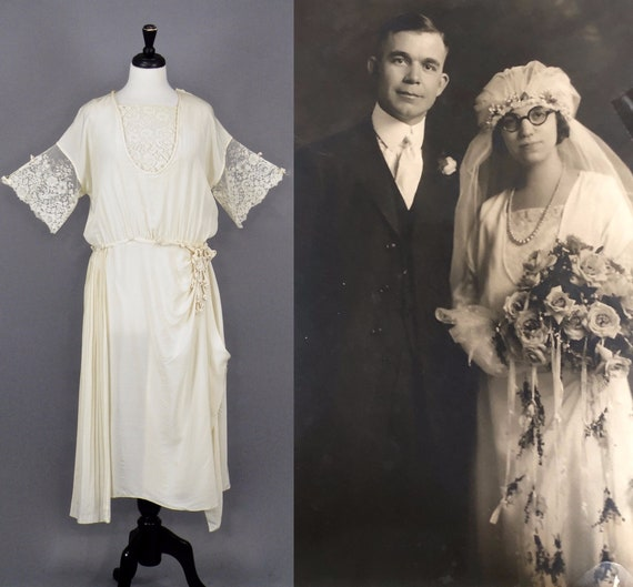 Antique 1920s Wedding Dress & Photo, 20s Cream Silk Lace Bridal Dress and Wax Flower Net Veil, Medium