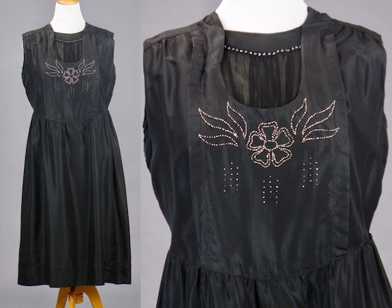 "Antique Late 1910s Metallic Beaded Black Silk Edwardian Dress, Belding's Silk, Large - XL 40"" Waist"