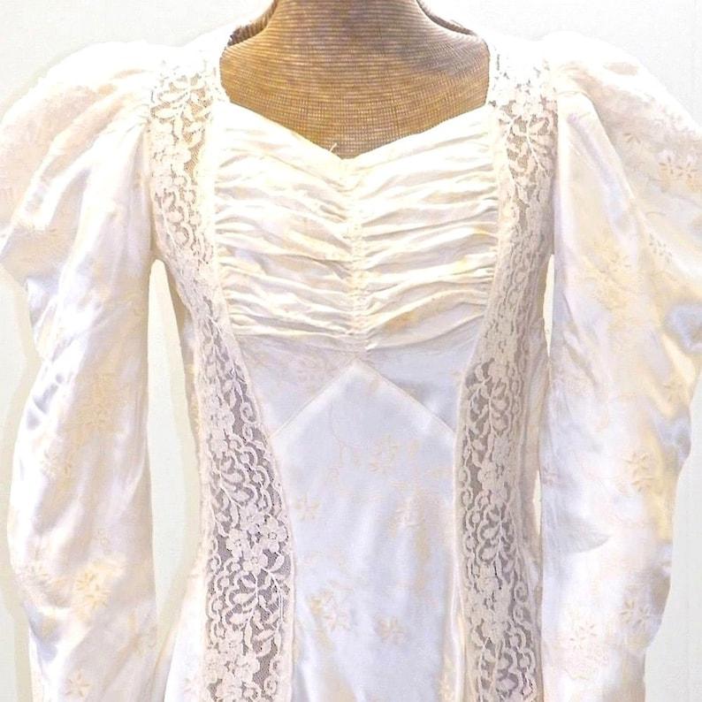 Vintage 1940s Wedding Dress 40s Wedding Gown Flocked Silk image 0