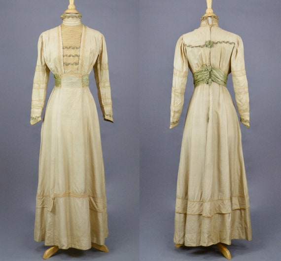 1910s Antique Edwardian Beige Silk Afternoon Dress with Green Velvet Floral Beadwork and Coiled Silk