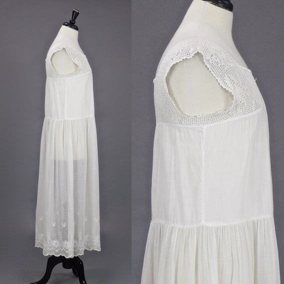 Vintage 1910s 20s Dress, Antique Embroidered Whit… - image 4