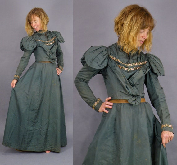 1890s Embellished Victorian Dress, Antique 19th Century Green Silk Victorian Walking Dress with Gold Beading and Pastel Sequins