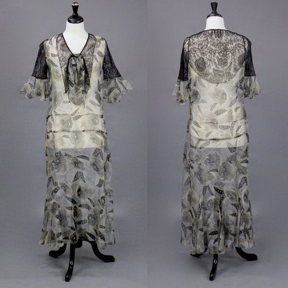 Vintage 1930s Dress, 30s Dress, Gray Silk Chiffon Graphic Print 1930s Dress with Black Chantilly Lace and Bell Sleeves, Medium