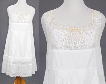 1910s Edwardian Filet Crochet Lace Cotton Eyelet Slip Dress, Antique White Cotton Summer Dress, Large