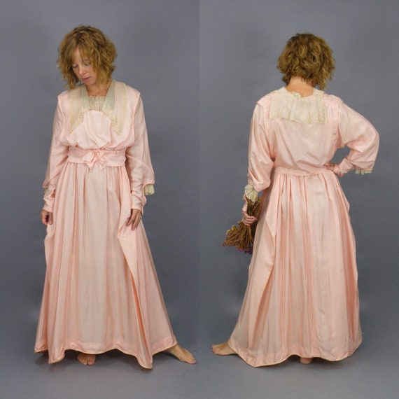Edwardian 1900s Pink Silk Lace Antique Dress, Lace Trim Dagger Collar and Bishop Sleeves