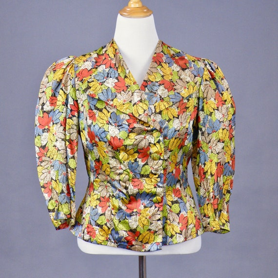 Vintage 1930s 40s Gold Printed Floral Peplum Evening Blouse, Large